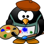 penguin painter cartoon