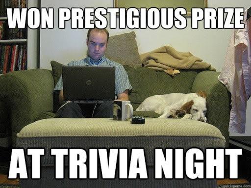 Won prestigious prize at trivia night