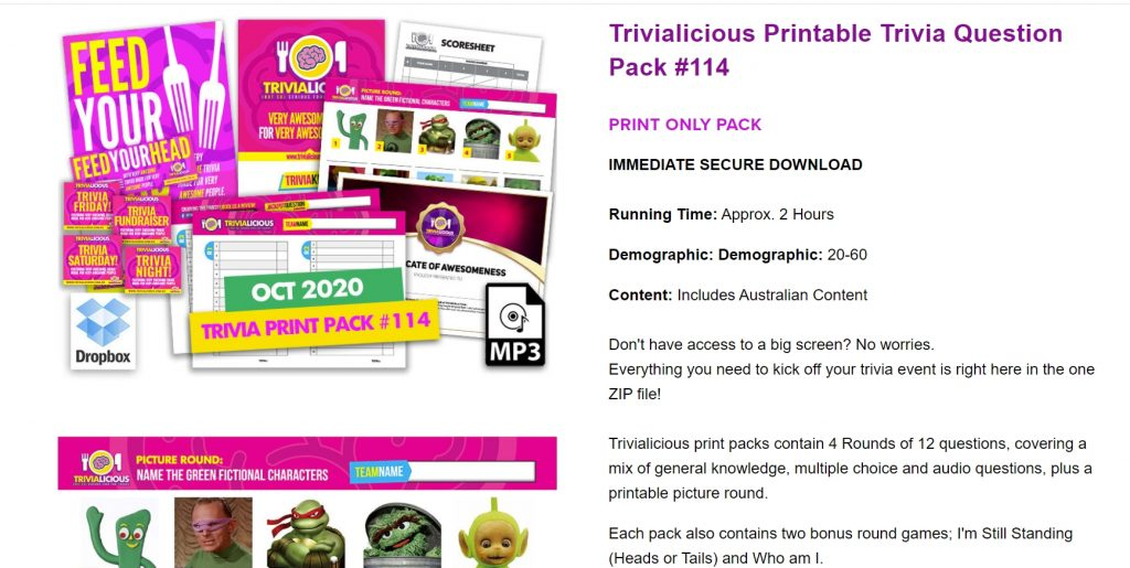 Trivialicious sample pack