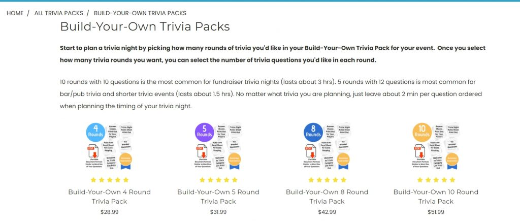 Trivia Packs build your own packs