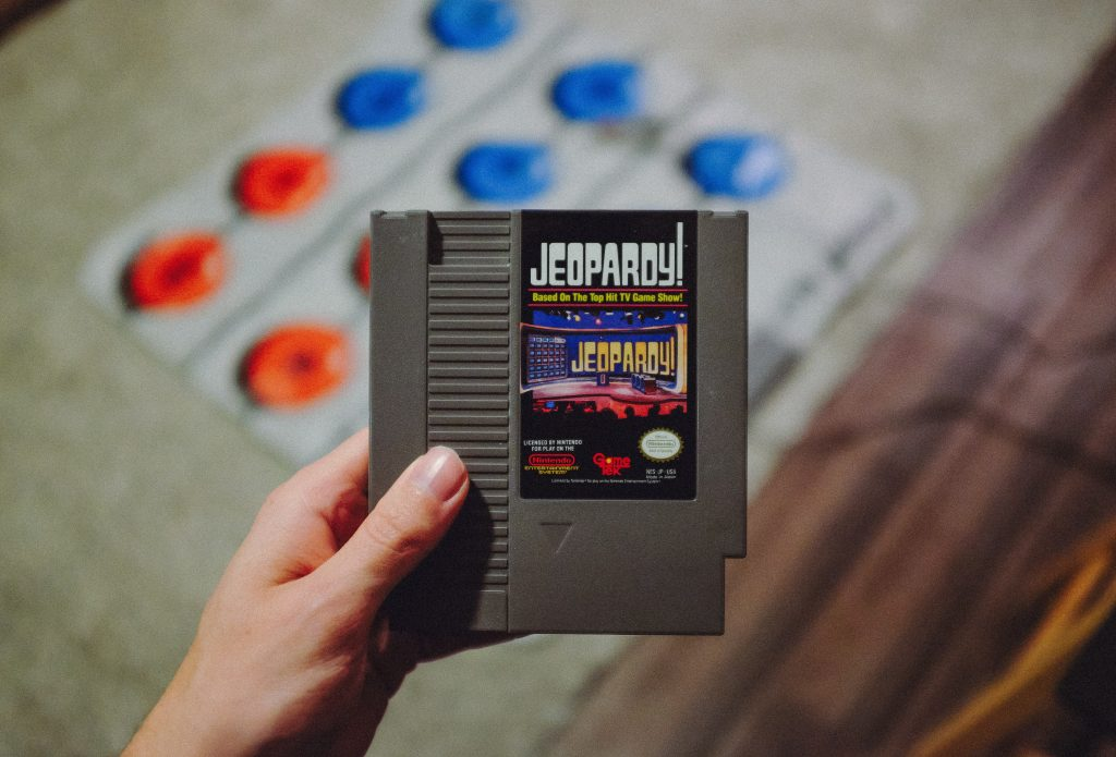 A nintendo cartridge with the Jeopardy game