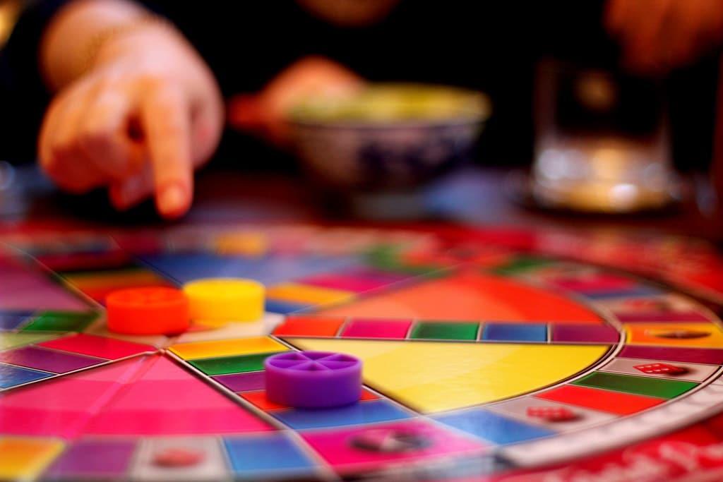A closeup shot of a Trivial Pursuit board