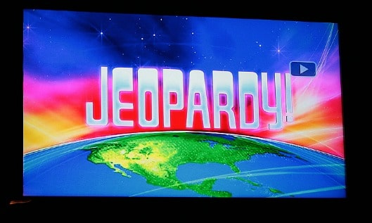 TV image of the Jeopardy! title screen.