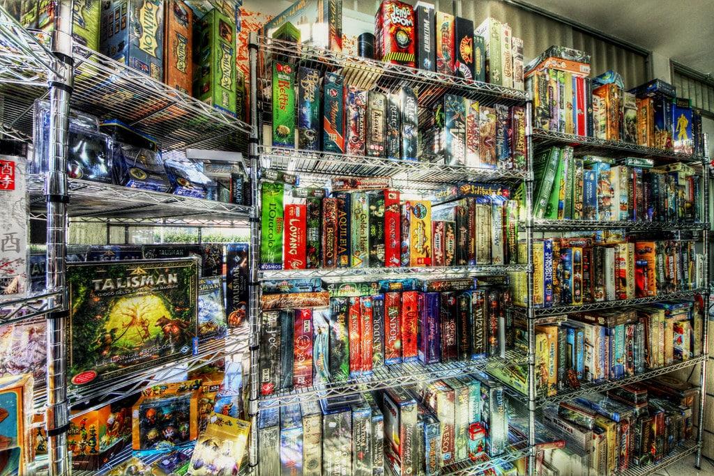 Shelves containing board games