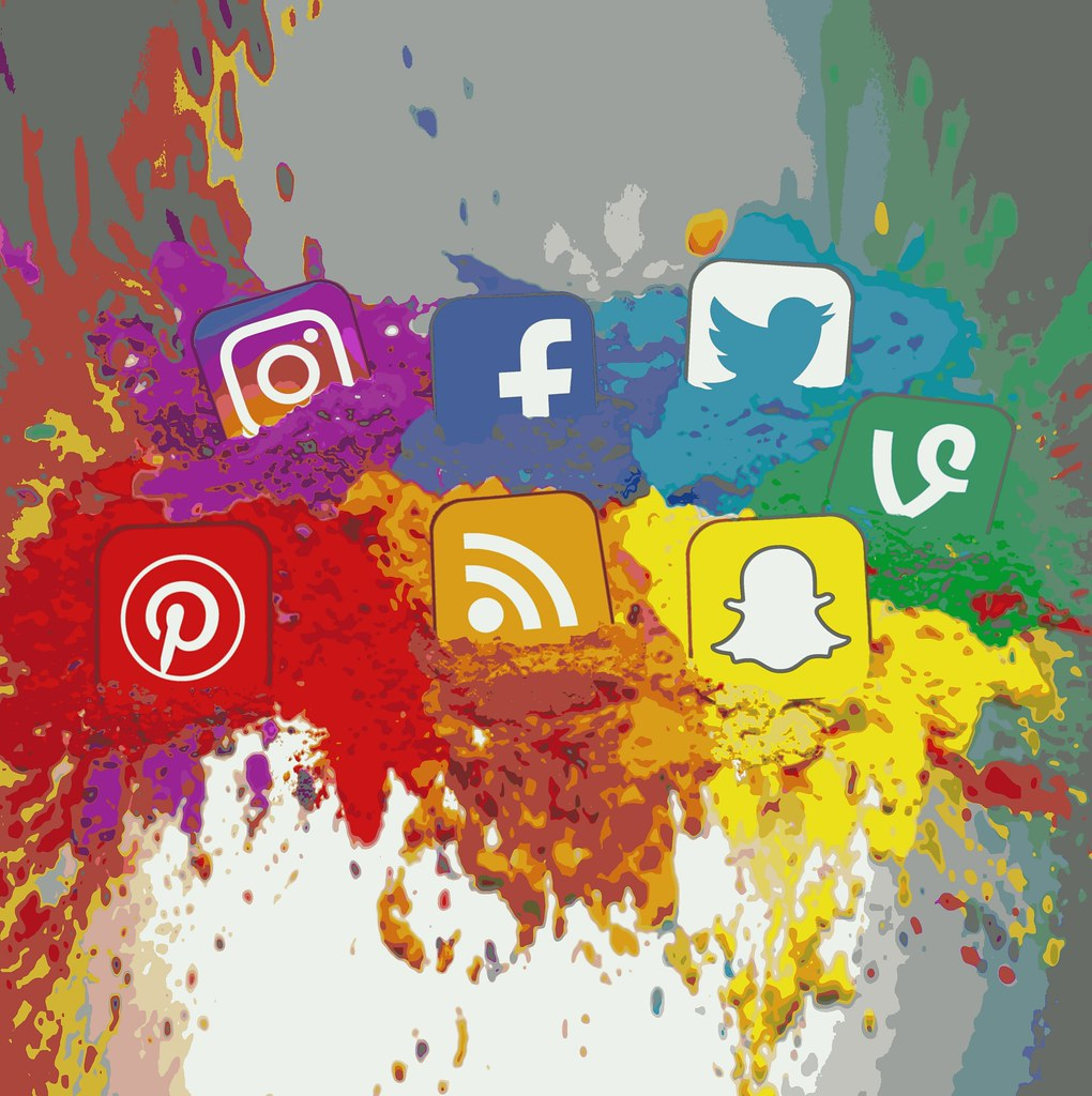 Water paint-style version of social media logos and icons