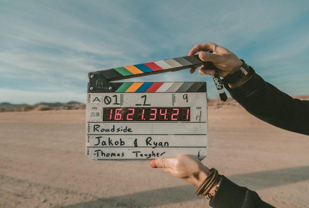 film clapboard in desert