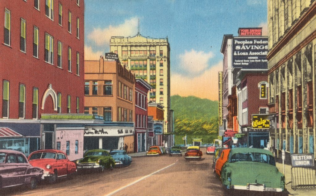Buildings and cars on 12th Street, looking west, Wheeling, W. Va.