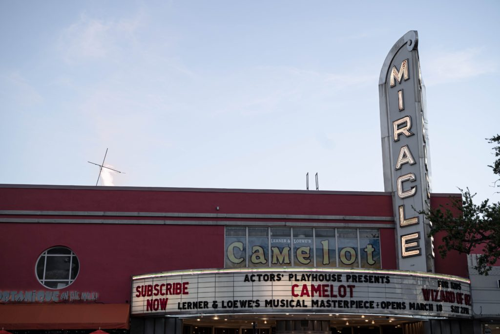 """Movie theater sign that reads """"Camelot"""" at the Miracle Mile, Coral Gables, FL, USA"""