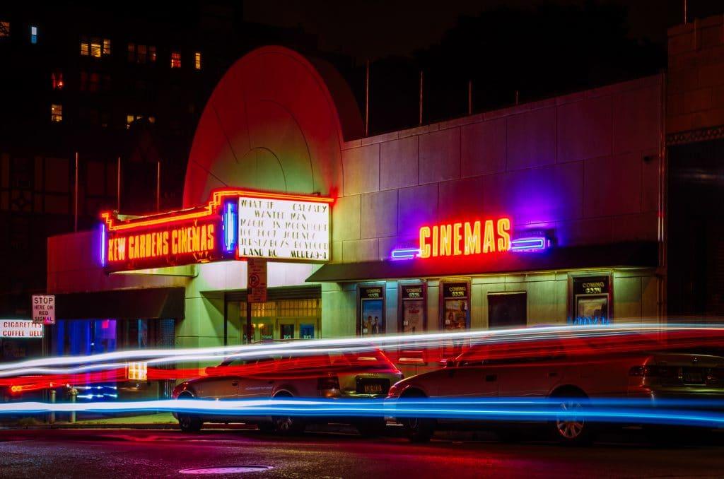Movie theater at night