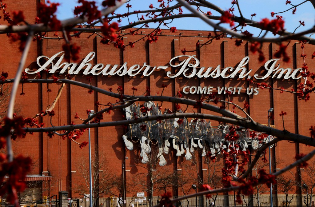 View through a gate of the Anheuser-Busch building.
