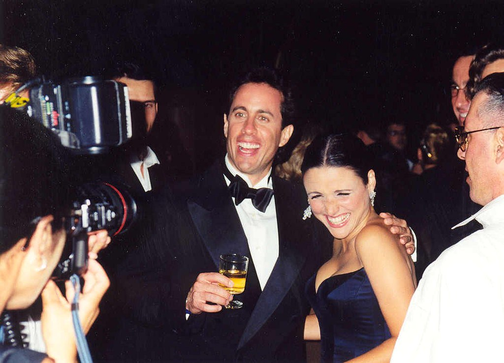 Jerry Seinfeld and Julia Louis-Dreyfus at an awards party