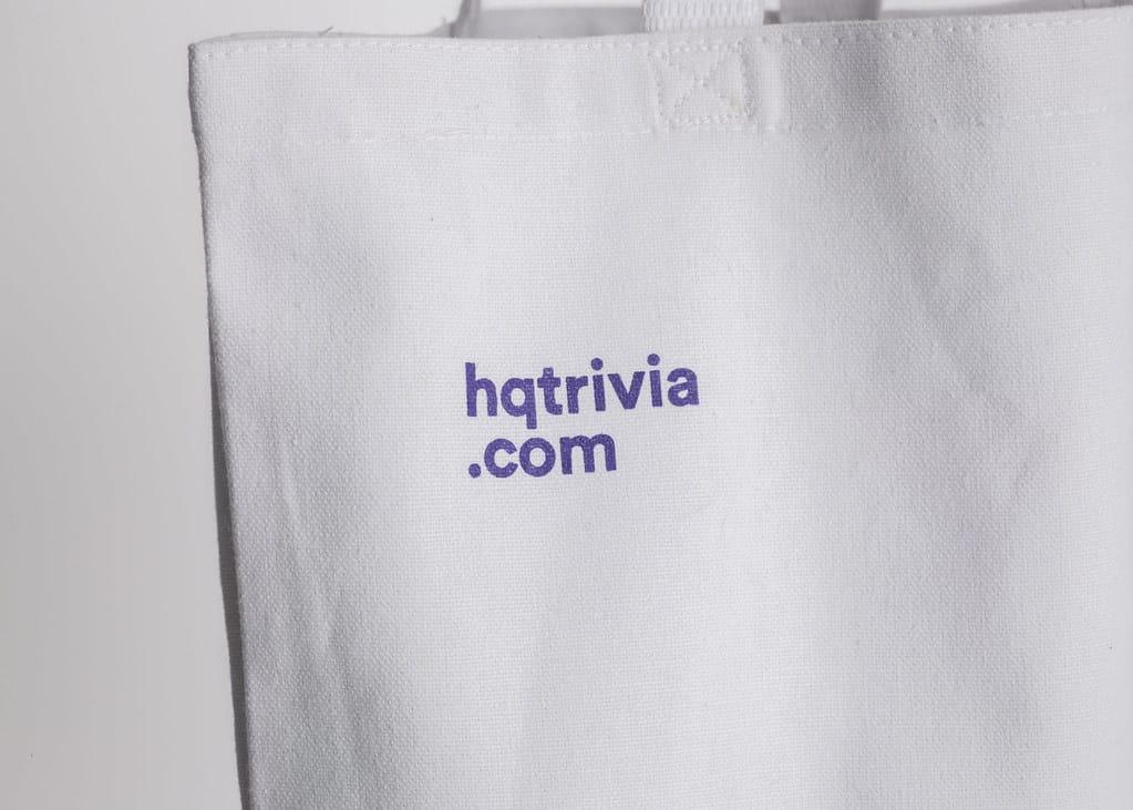 Close-up of an HQ Trivia tote bag.