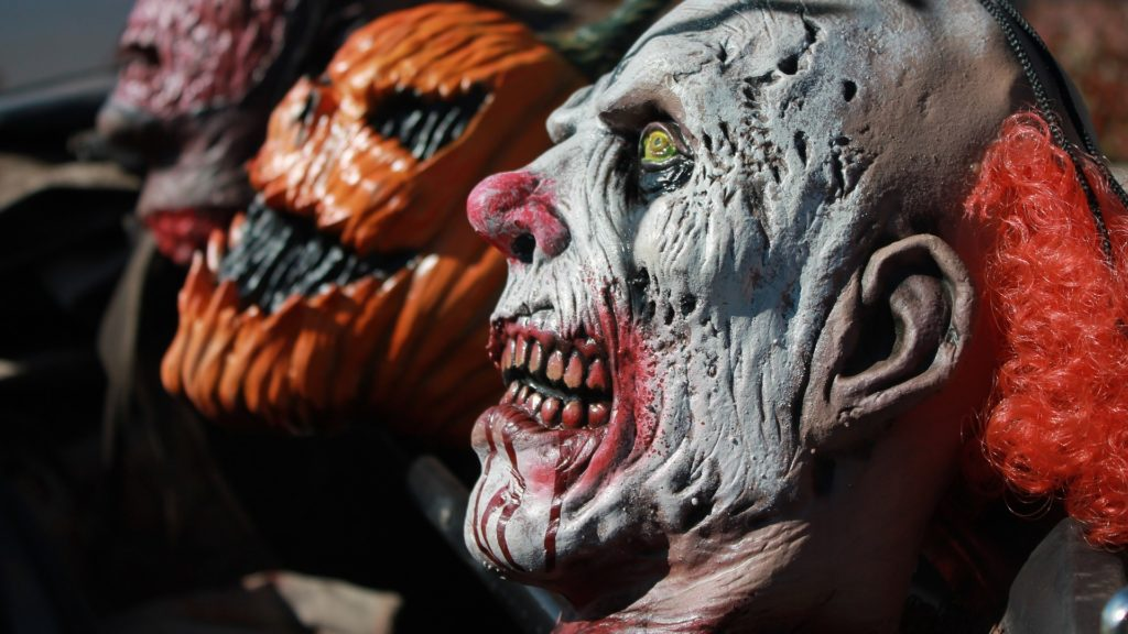 Close up of scary Halloween masks