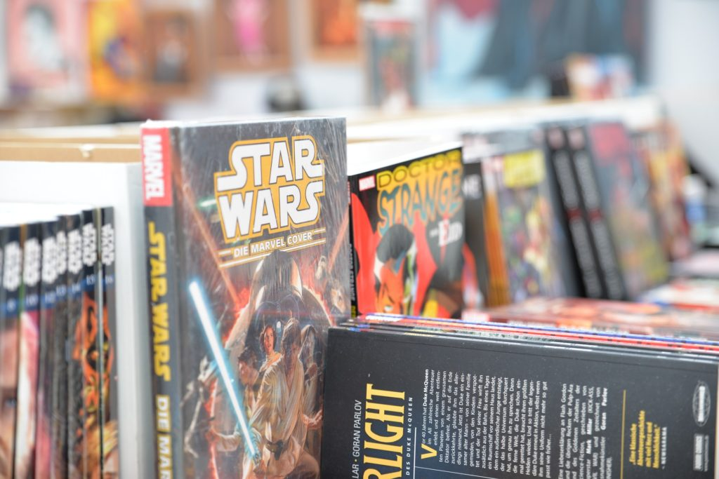 Close up on a collection of Star Wars graphic novels