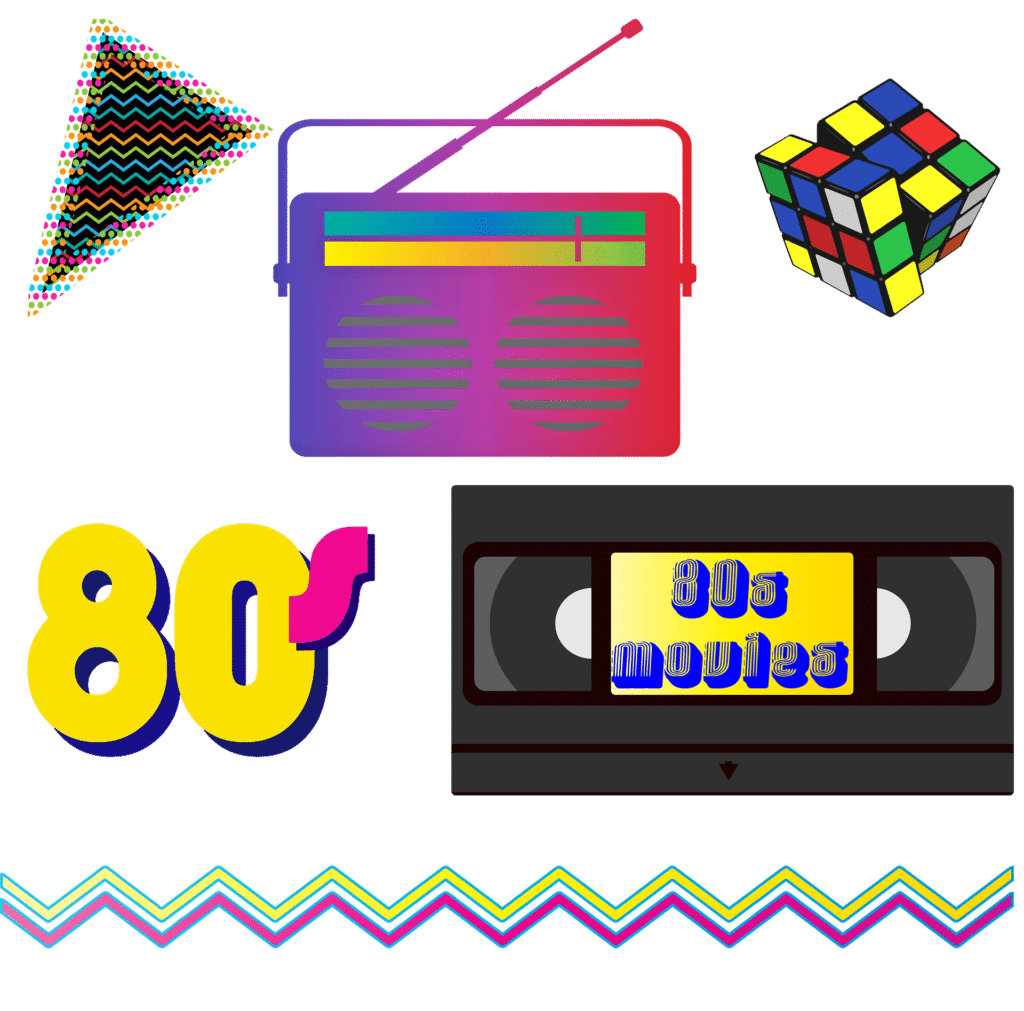 Graphics of '80s images, including a VHS tape, Rubik's cube, and boombox.