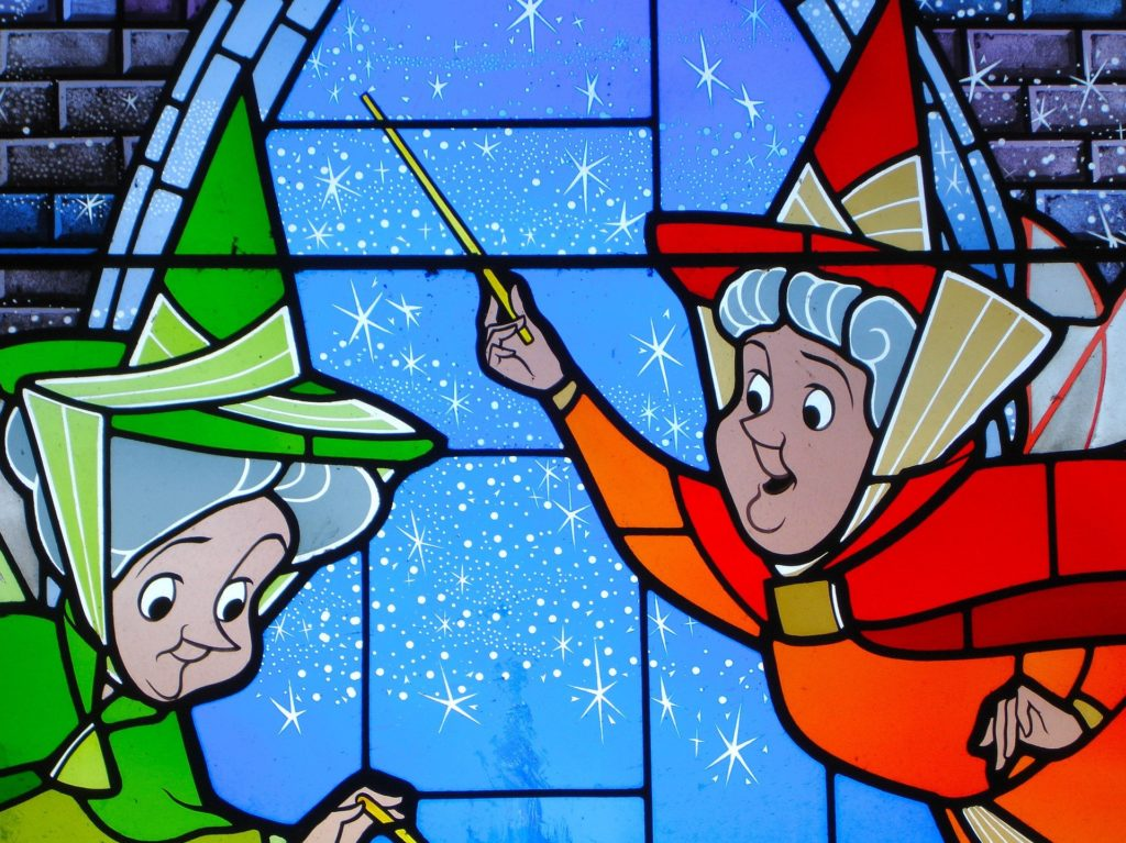 Illustration of fairy Godmothers from Disney's Sleeping Beauty.