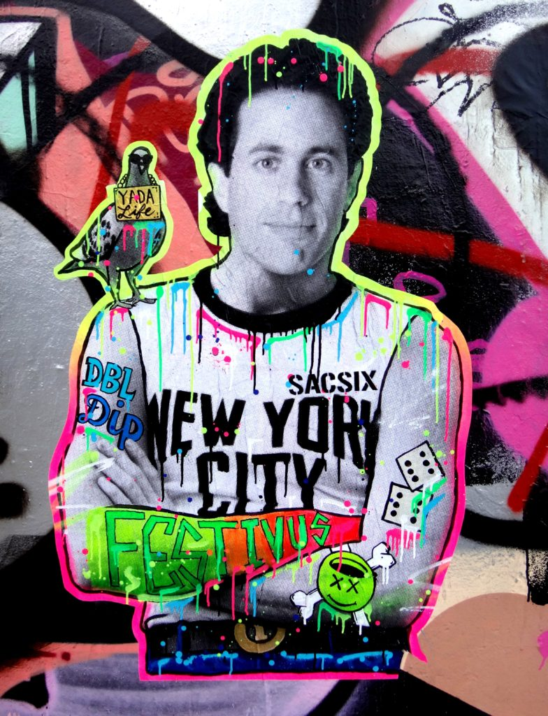Graffiti-style image of Jerry Seinfeld.