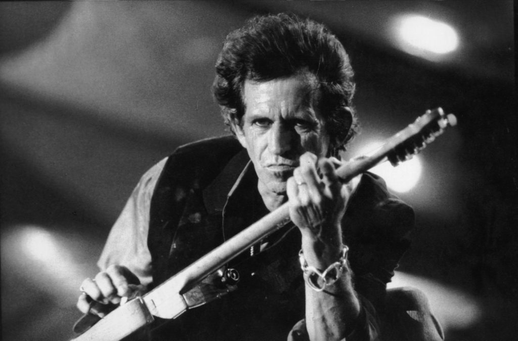 Black and white photo of Keith Richards of the Rolling Stones