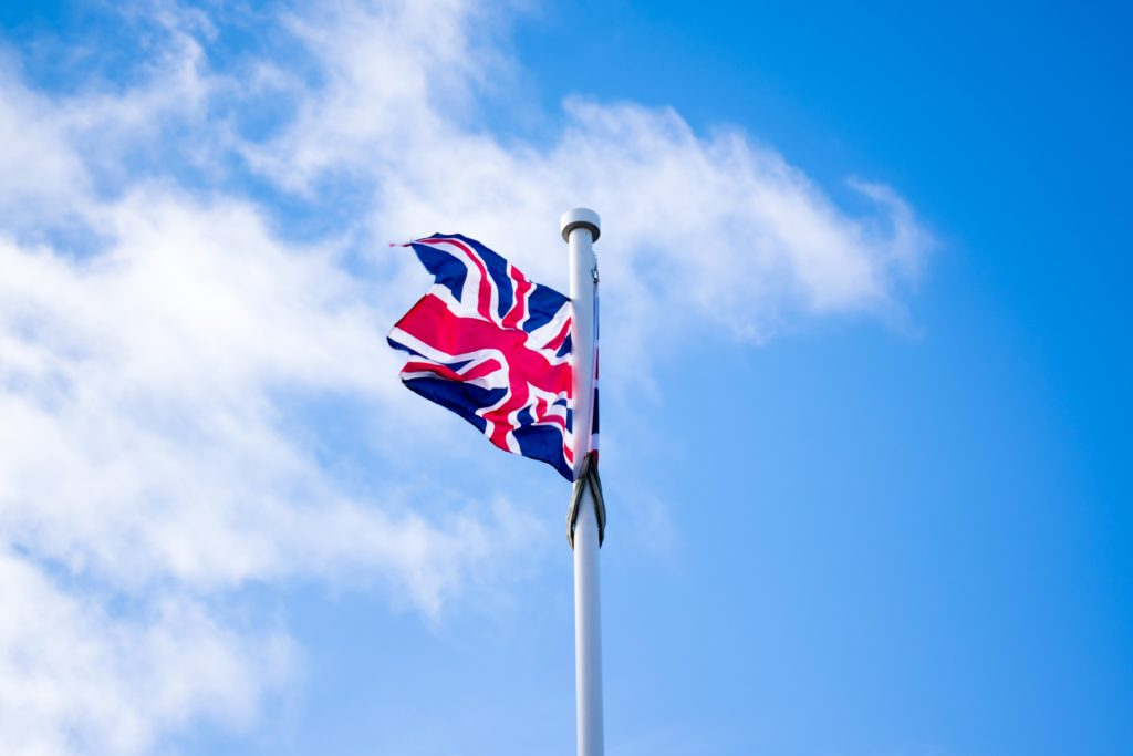 UK flag flying in sky