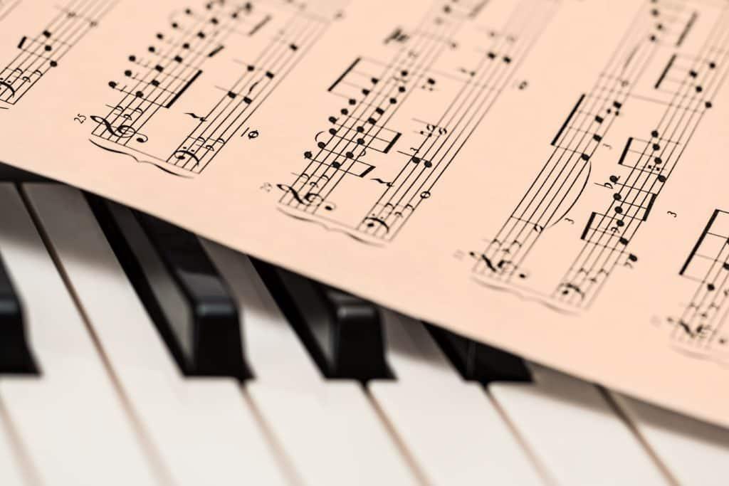 Close up of a music sheet on an organ