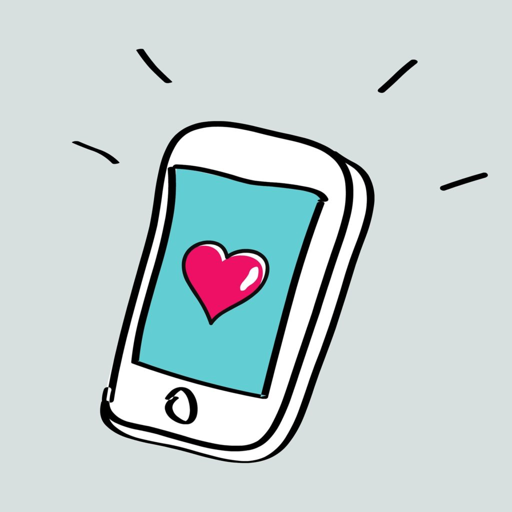 Illustration of a smart phone with a heart on the screen.