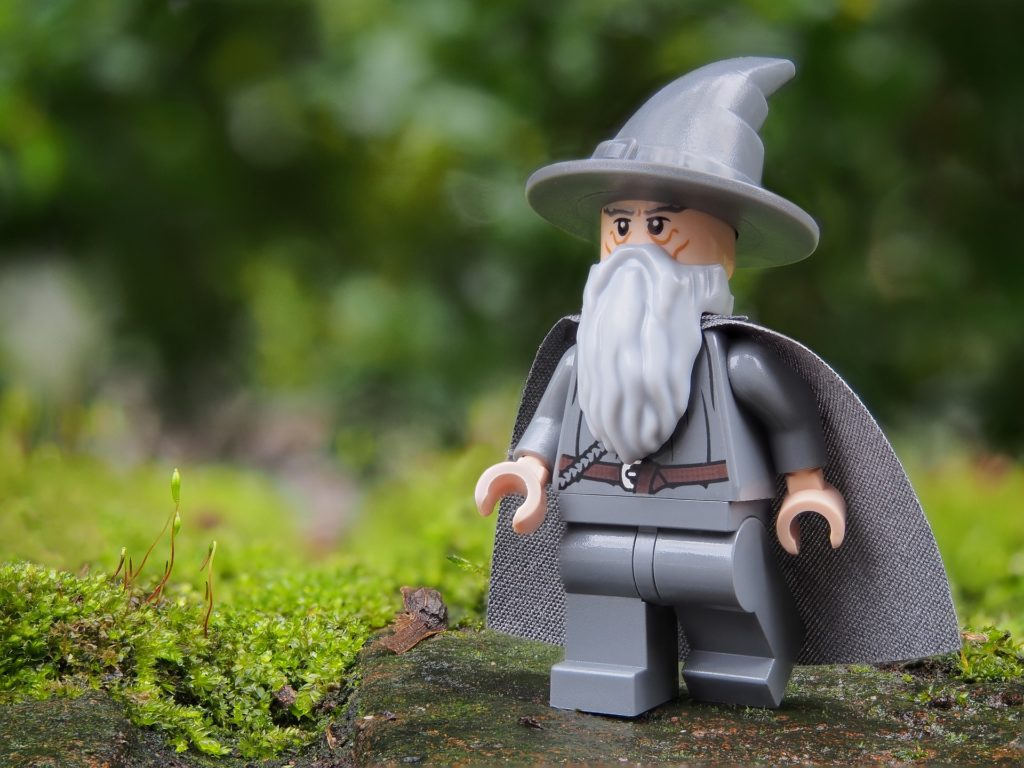 Close-up of LEGO Gandalf from Lord of the Rings.
