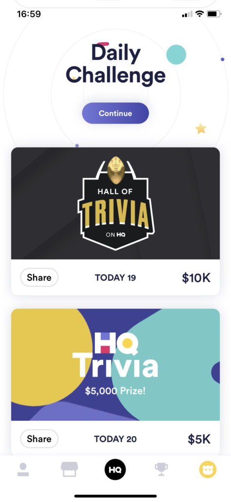 Fig 1. Screenshot taken by Steve Wright from the app HQ Trivia, Intermedia Labs, 2021.