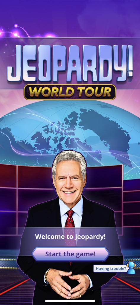Fig 1. Screenshot taken by Anastasia Voloshina from the app Jeopardy! World Tour, Sony Pictures Television, 2021.