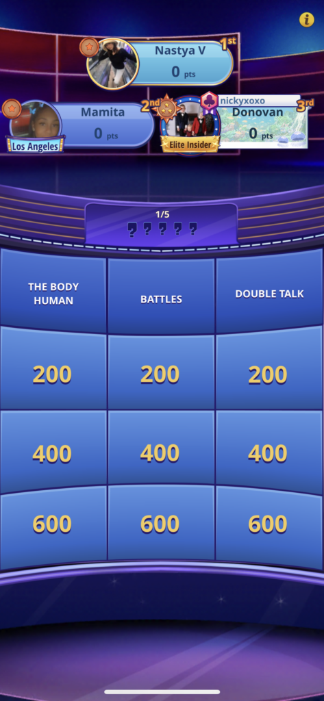 Fig 2. Screenshot taken by Anastasia Voloshina from the app Jeopardy! World Tour, Sony Pictures Television, 2021.
