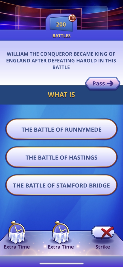 Fig 3. Screenshot taken by Anastasia Voloshina from the app Jeopardy! World Tour, Sony Pictures Television, 2021.