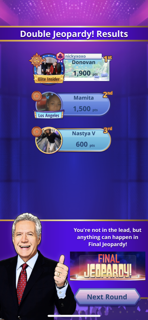Fig 4. Screenshot taken by Anastasia Voloshina from the app Jeopardy! World Tour, Sony Pictures Television, 2021.