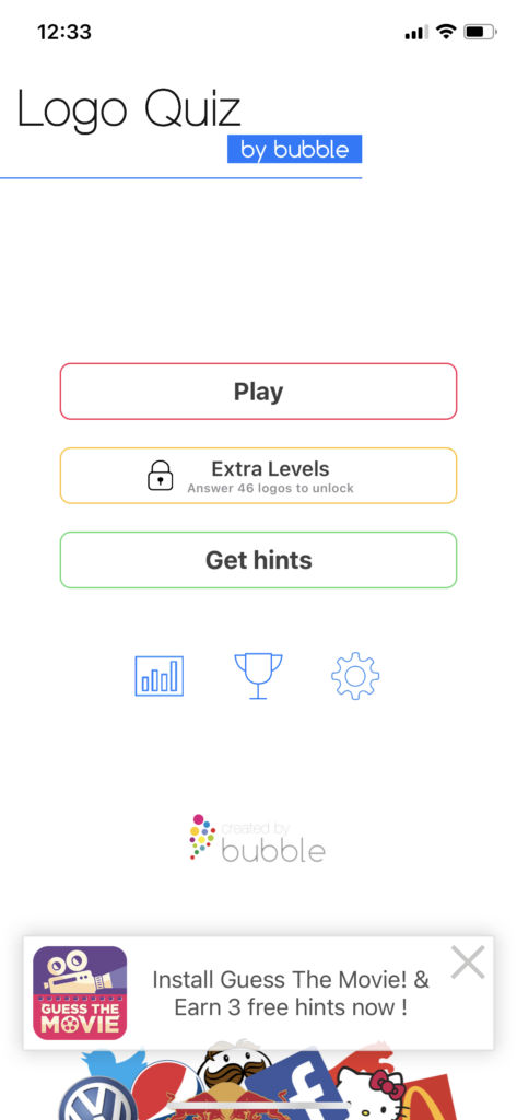 Fig 1. Screenshot taken by Anastasia Voloshina from the app Logo Quiz, Bubble Quiz Games, 2021.
