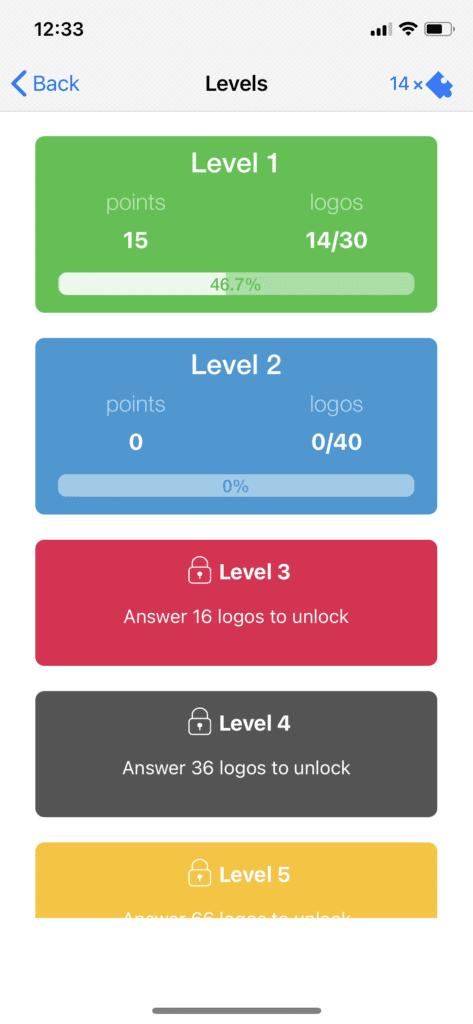 Fig 2. Screenshot taken by Anastasia Voloshina from the app Logo Quiz, Bubble Quiz Games, 2021.