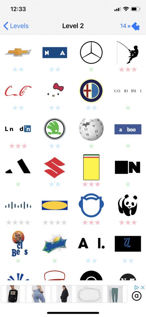 Fig 3. Screenshot taken by Anastasia Voloshina from the app Logo Quiz, Bubble Quiz Games, 2021.