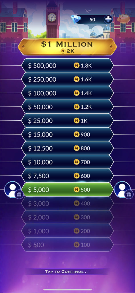 Fig 2. Screenshot taken by Steve Wright from the app Who Wants to Be a Millionaire?, Sony Pictures Television, 2021.