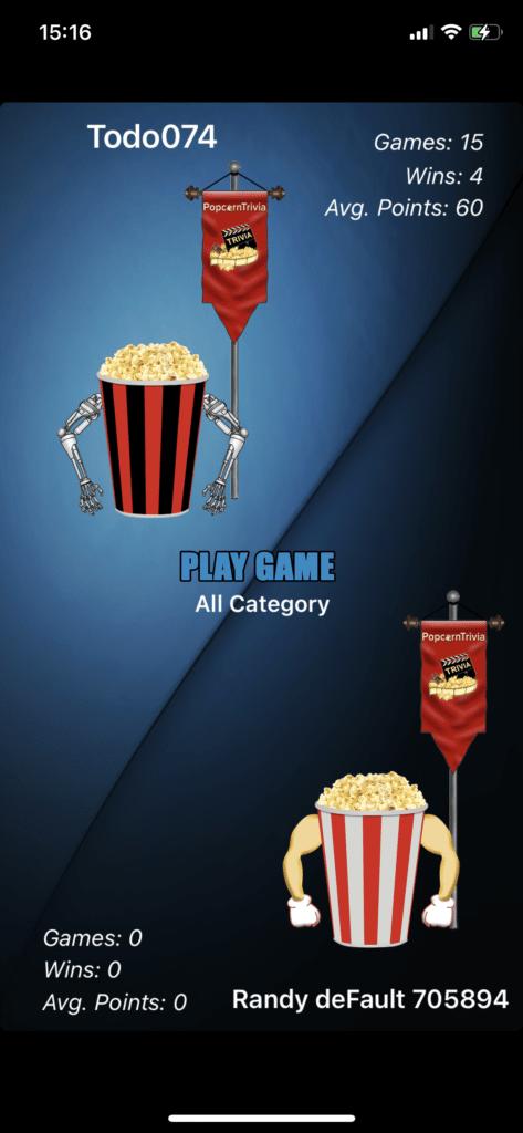 Fig 4. Screenshot taken by Anastasia Voloshina from the app PopcornTrivia, Custom Play LLC, 2021.
