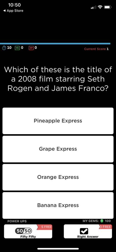 Fig 4. Screenshot taken by Anastasia Voloshina from the app QuizUp, Glu Mobile, 2021.
