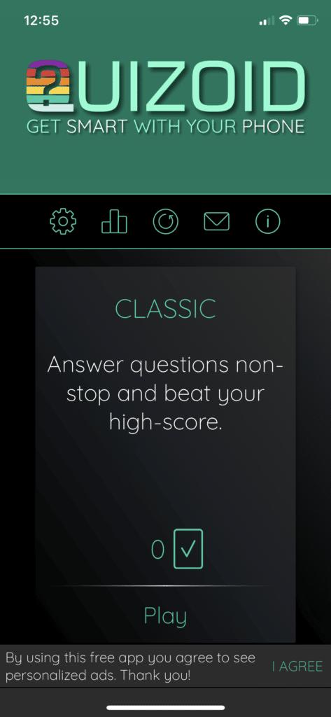 Fig 1. Screenshot taken by Anastasia Voloshina from the app Quizoid, Habanero Quiz Apps, 2021.