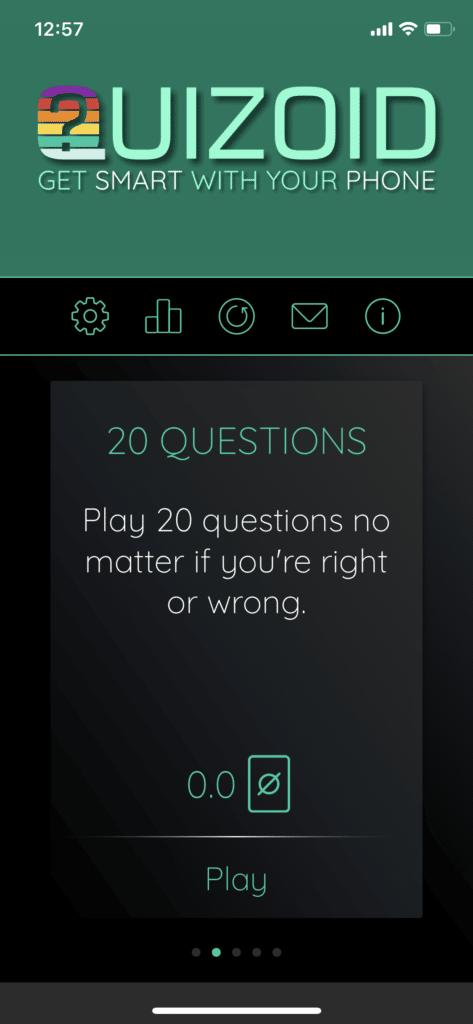 Fig 2. Screenshot taken by Anastasia Voloshina from the app Quizoid, Habanero Quiz Apps, 2021.