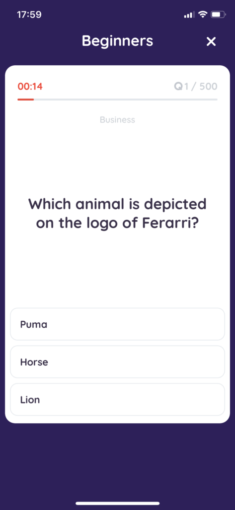 Fig 5. Screenshot taken by Anastasia Voloshina from the app Sphynx Trivia, GMRD Apps Limited, 2021.