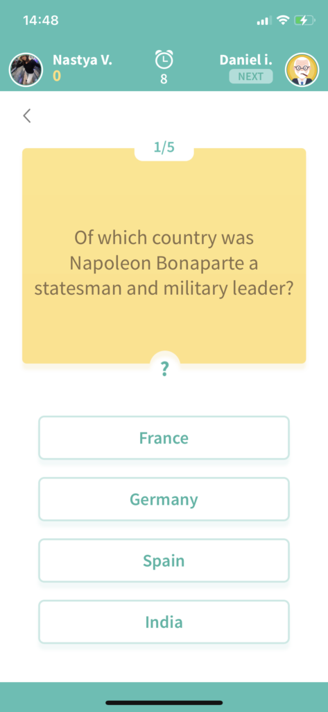 Fig 4. Screenshot taken by Anastasia Voloshina from the app Trivia360, Smart Owl Apps, 2021.