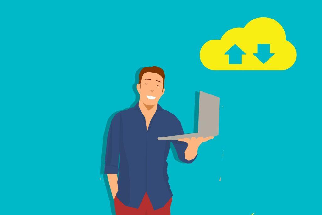 Illustration of a man holding a laptop.