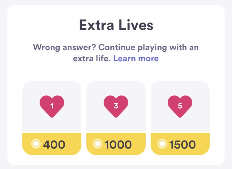 Extra Lives from HQ Trivia