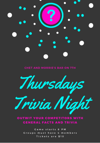 "Black, Teal, and Magenta invitation that reads ""Thursdays Trivia Night"""