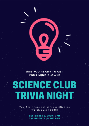 """Blue, Pink, and Teal invitation that reads """"Science Club Trivia Night"""""""