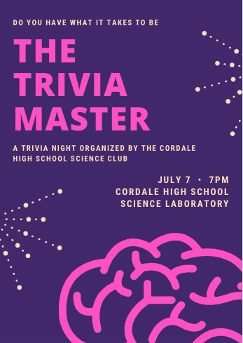 """Purple, Pink, and Magenta invitation that reads """"The Trivia Master"""""""