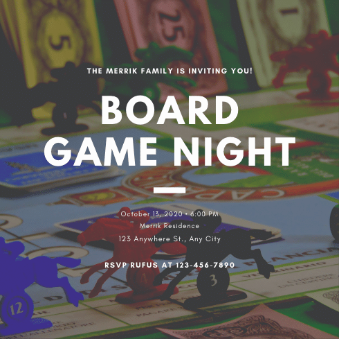 """An invitation with an image of a board game that reads """"Board Game Night"""""""