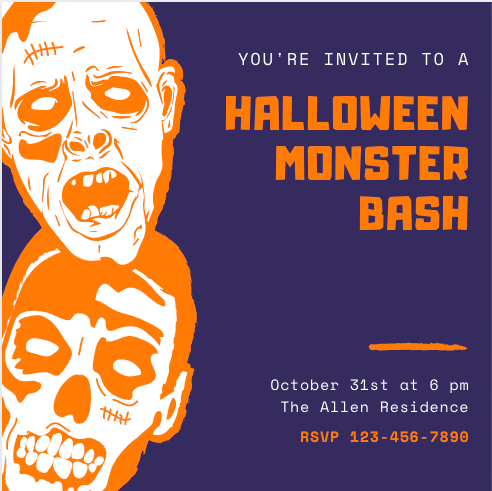 """Blue and Orange Invitation that reads """"You're Invited to a Halloween Monster Bash"""""""