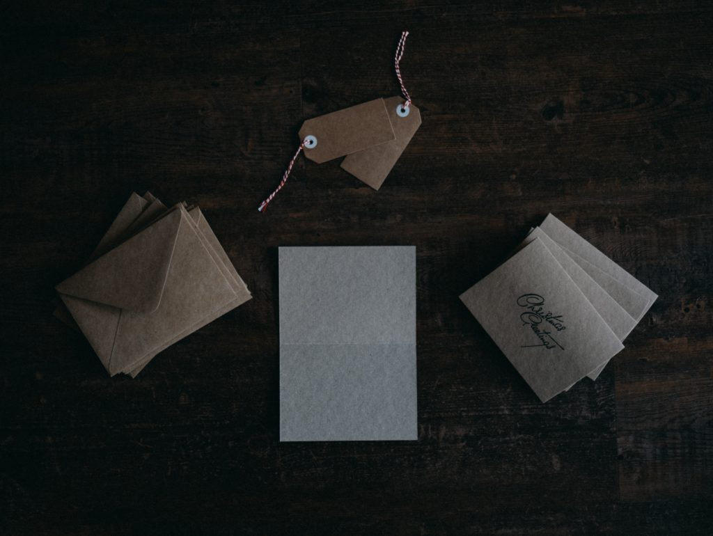 Cards with envelops and tags.