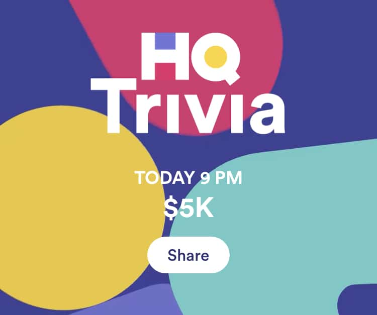Fig 3. Screenshot taken by Jamie Rotante from the app HQ Trivia, Intermedia Labs, 2021